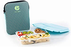 Life Story Plastic Divided Compartment Lunch Box Container with Insulated Sleeve