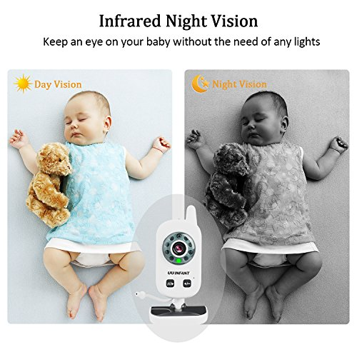 Baby Monitor, Video Baby Monitor with Camera- Wireless Video Monitor for Baby Safety- with Infrared Night Vision/Two Way Talkback/Temperature Monitor/Lullaby-Play (White) by UU Infant (Image #4)