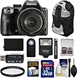 Pentax K-70 All Weather Wi-Fi Digital SLR Camera & 18-135mm WR Lens (Black) with 32GB Card + Battery + Backpack + Flash + Kit