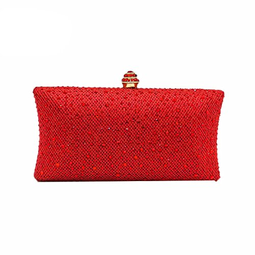 Bag Red Bag Clutch Diamond Dress Fashion Luxury Bag Chain Ladies Dinner Handbag Bag Banquet Evening Full Rhinestones wUnXZSP
