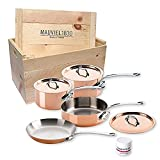 Mauviel Made In France M'heritage 150s 6100.02wc Crated 7-Piece Set with Cast Stainless Steel Handle