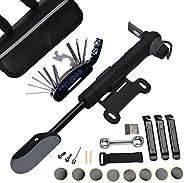 DAWAY A35 Bike Repair Kit - 120 PSI Mini Pump & 16 in 1 Bicycle Multi Tool with Handy Bag Included Glueles