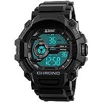 De los hombres reloj deportivo digital, Electrónico impermeable LED luz trasera para 164ft Militar Resistente al agua negro 1233