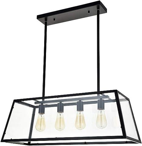 Relaxbx Kitchen Island - Iluminación Colgante con 4 Luces, LáMpara de Araña Industrial Moderna, Marco Negro Mate con Paneles de Vidrio Transparente, Luces de Techo Mesa de Billar Luz Comedor Club Bar: