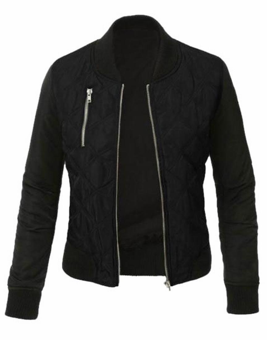 XQS Women Classic Style Zip Up Biker Vintage Jacket Black M