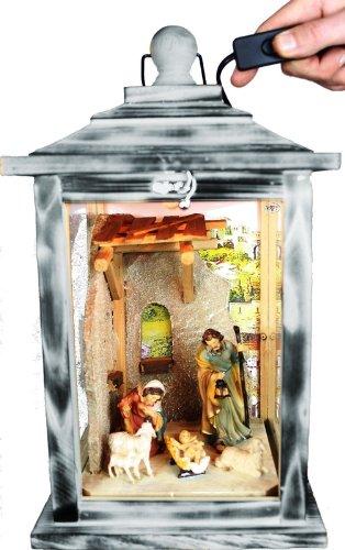 KLG-MFOS-HELLGRAU Holzlaterne - Weihnachtskrippe MIT KRIPPENFIGUREN -Figuren - mit Beleuchtung 220V - Laterne aus Holz -