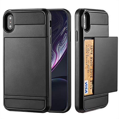 Crosspace iPhone Xs Max Case, iPhone Xs Max Wallet Case Defender Bumper Soft Rubber Hard PC Back Hybrid Shockproof Slide Cover Flexible Protective with Card Slots Holders for iPhone Xs Max 6.5-Black