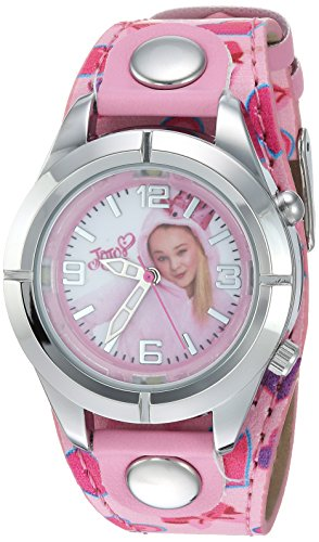 Jojo Siwa Kids' Analog Watch with Silver-Tone Case, Pink Leather Strap, Easy to Buckle - Kids' Watch with JoJo Siwa on the Dial, Safe for Children - Model: JOJ5003 from Nickelodeon