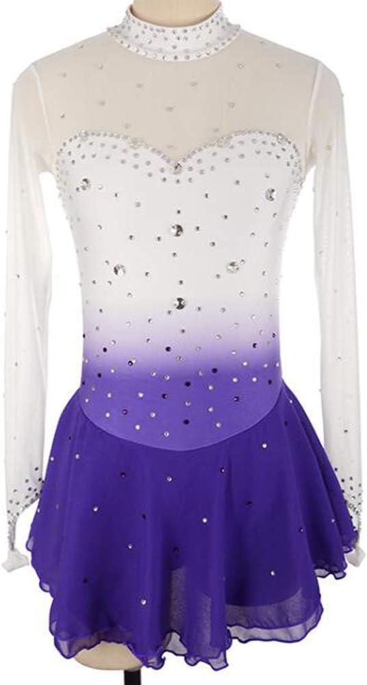 女の子の大人のフィギュアスケートのドレスアイススケートスカート長袖競争テスト紫白ダイヤモンド,White+violet,L