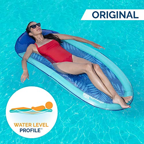 SwimWays Spring Float Original Pool Lounge Chair with Hyper-Flate Valve, Teal Palm