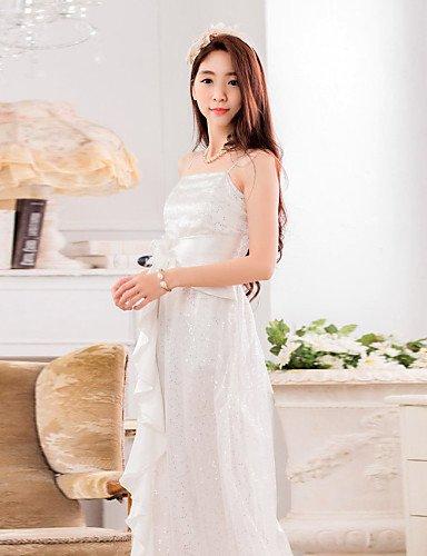 PU&PU Robe Aux femmes Grandes Tailles Grandes Tailles / Sexy / Soirée , Couleur Pleine Licou Maxi Autres / Paillette / Mousseline de soie , white-xl , white-xl