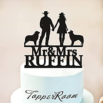 Cowboy Wedding Cake Topper With Two DogsCountry TopperWestern