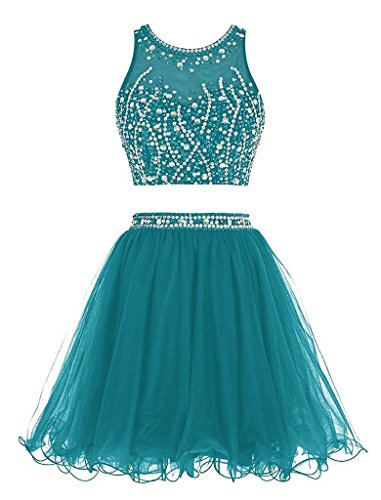 Bat Mitzvah Dress - Women's Two Pieces Short Homecoming Party Dresses Beaded Rhinstone Prom Dresses For Teens 8 Teal