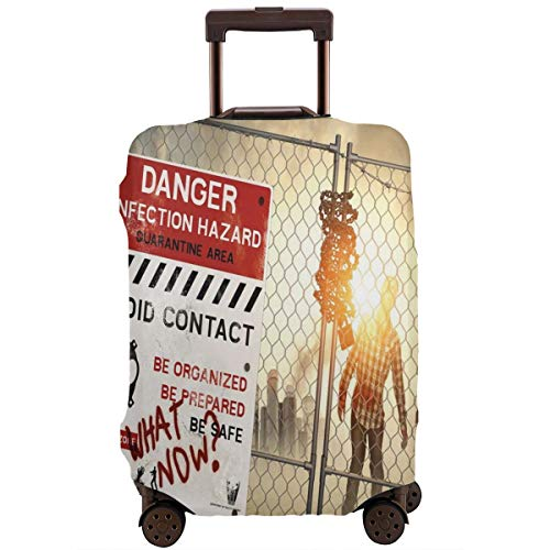 Travel Luggage Cover,Dead Man Walking Dark Danger Scary Scene Fiction Halloween Infection Picture Suitcase -