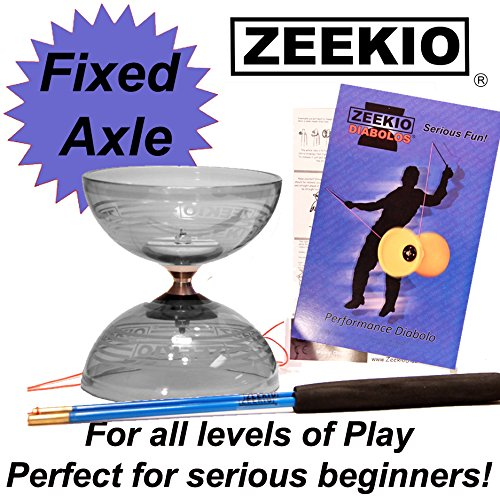 - Zeekio Crystal Series Master Spin Diabolo Set- Fixed Axle, Durable Transparent cups, Comes with Sticks, String and Instructions. (Clear)