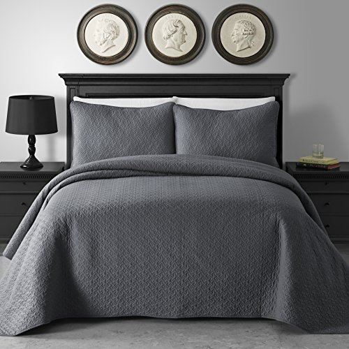 King & Queen Home Jigsaw Pattern 3-Piece Cotton Filled Coverlet Set (Full/Queen, Gray)