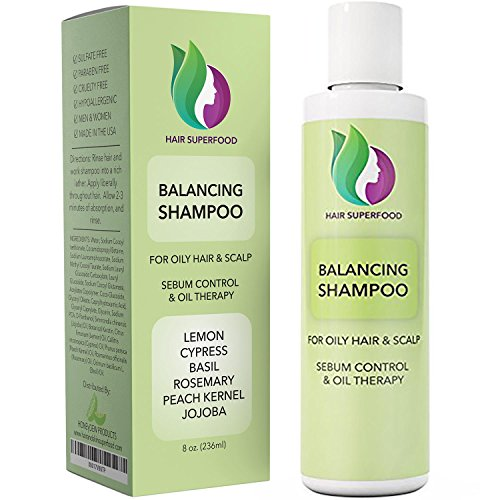 Moisturizing Oily Hair Shampoo - Vitamin Shampoo For Oily Hair & Scalp – Itchy Scalp & Greasy Hair Treatment For Oily & Thinning Hair – Volumizing Shampoo For Women + Men - Purifying Shampoo Sulfate Free with Lemon + Jojoba Oil