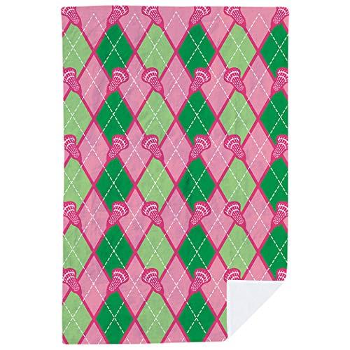 Green Pink Argyle And - ChalkTalkSPORTS Lacrosse Premium Blanket | Lacrosse Stick Argyle Pattern | Pink-Green
