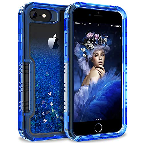 - Dexnor Compatible with iPhone 6/ 6S/ 7/ 8 Case Floating Glitter Bling Moving Liquid Quicksand Hard Cover Clear Transparent Thickened Dual Layer Full Protection Bumper for Girls/ Women - Blue