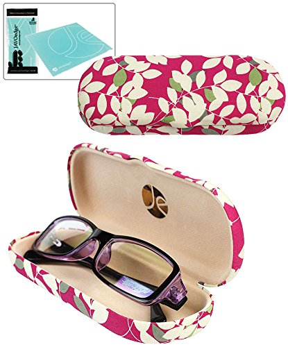 JAVOedge Pink Leaves Pattern Fabric Clamshell Style Eyeglass Case with Bonus Mircofiber Glasses Cleaning Cloth