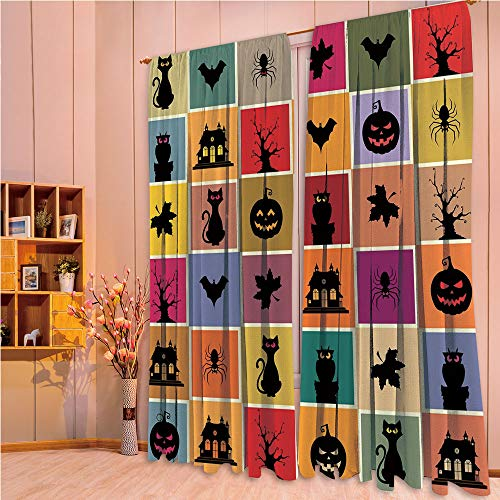 ZHICASSIESOPHIER Modern Style Room Darkening Blackout Window Treatment Curtain Valance for Kitchen/Living Room/Bedroom/Laundry,Haunted Houses in Squraes Halloween Themed Darwing 108Wx63L Inch