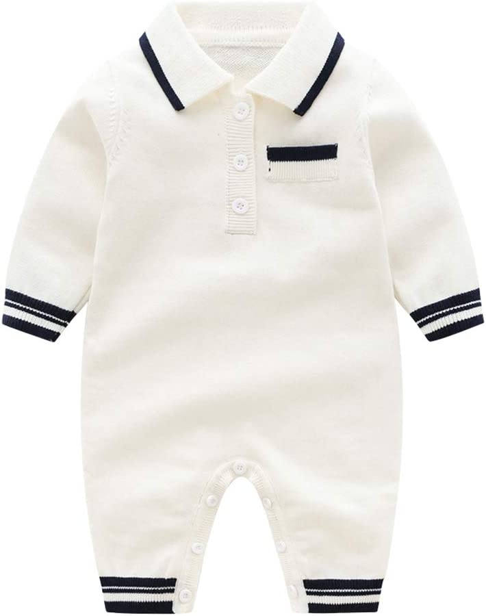 Baby Romper Polo Jumpsuit Knitting Bodysuit Onesies Sweater Outfits 0-3 Months