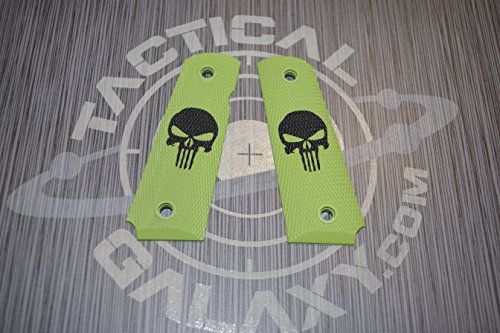 PUNISHER 1911 grips Cerakote color - laser engraved images (BLACK LOGO ON ZOMBIE GREEN GRIPS) (1911 Zombie Grips)