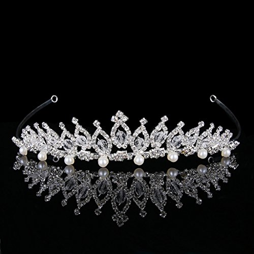 BriLove Women's Crystal Victorian Style Simulated Pearl Bling Wedding Bridal Crown Hair Tiara Silver-Tone by BriLove (Image #2)