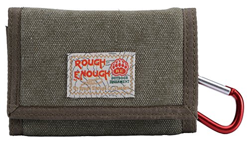 Rough Enough Mufti-Functional Classic Sport Outdoor Stylish Vintage Fancy Trifold Mini Small Canvas Wallet Coin Purse Credit Card Holder Cash Bag Organizer Pouch Case Zipper Pocket for Travel School