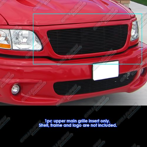 (APS for 99-03 Ford F150/Lightning/Harley Davidson Black Billet Grille Grill Insert)