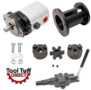 "ToolTuff Log Splitter Build Kit: 28 GPM 2-Stage Hydraulic Log Splitter Pump, Mount Coupler & A7 Detent Valve Kit (For 1"" Engine Crankshaft)"