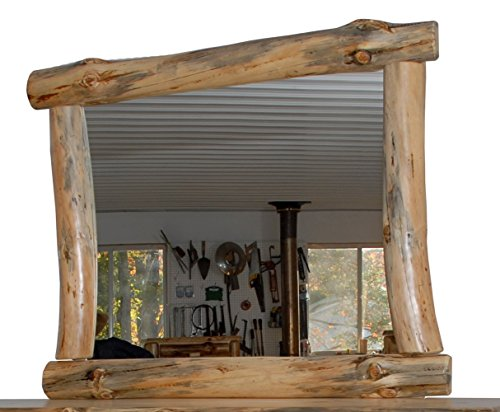Rustic Pine Half Log Mirror Frame - Amish Made in USA (Michael's Cherry (Log Mirror Frame)