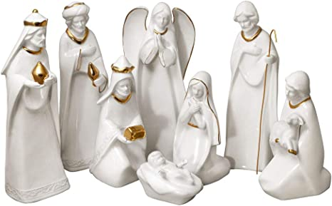 Mikasa Holiday Splendor 8 Piece Nativity Set Cream Amazon Co Uk Kitchen Home