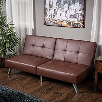 Heston Brown Vinyl Click Clack Futon Sofa Bed