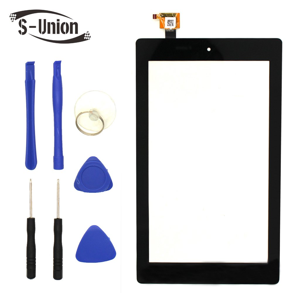 S-Union New Digitizer Screen Replacement for Amazon Fire 7th Gen SR043KL 7'' Black (for 7th Generation 2017 Release)