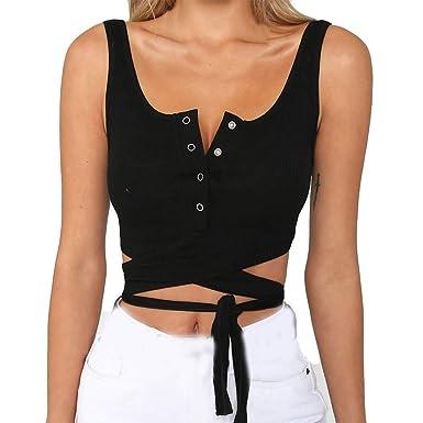 18522f66de3 Tanhangguan Womens Crop Tops Tank Top Teen Girls Sleeveless Bandage Sexy  Vest Blouse Summer Button Shirts