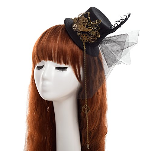 BLESSUME Top hat Hair Clip (Mini Steampunk Pirate Hat With Gear)