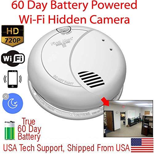 SecureGuard SMK-60DWIFI - 60 Day Battery Powered WiFi Smoke Detector Spy Camera