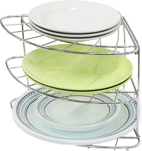 Simple Houseware 3-Tier Counter Corner Shelf Organizer, Chrome (Cabinet Organizer Plate)