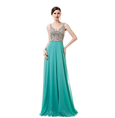 MLT Womens Long Chiffon V-Neck Evening Prom Dresses Green US2