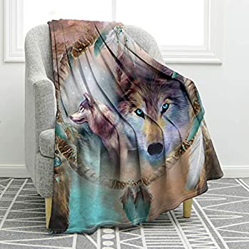 Jekeno Wolf Dream Catcher Blanket Print Soft Comfort Warm Throw Blanket for Couch Bed Travelling Camping Gift 50