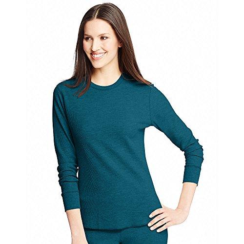 Hanes - Camiseta térmica - Manga Larga - para mujer Azul Marroquí