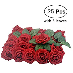 Lmeison Artificial Flower Rose, 25pcs Real Looking Artificial Roses w/Stem for Bridal Wedding Bouquets Centerpieces Baby Shower DIY Party Home Décor, Dark Red with 3 Leaves 106