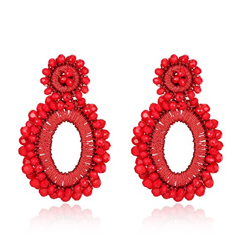 Bonnie Flower Hollow Beaded Long Tassel Leaves Statement Clip-on Drop Earring (Red) (Beaded Clip On Earrings)
