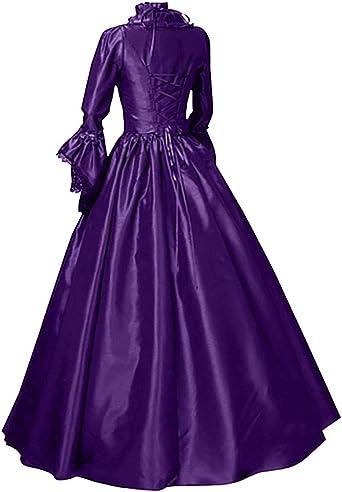 Kolylong® damska sukienka krÓlewska z długim rękawem w stylu vintage, z kokardką w stylu gotyckim, długość dna księżniczki, długość do spodu maxi sukienka na karnawa