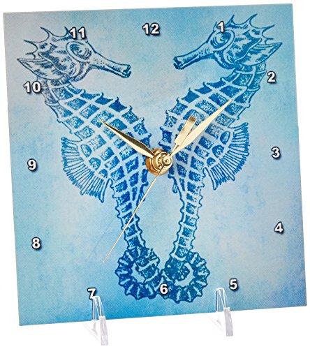 (3dRose dc_79382_1 Aqua Seahorses- Beach Theme Vintage Art-Desk Clock, 6 by 6-Inch)