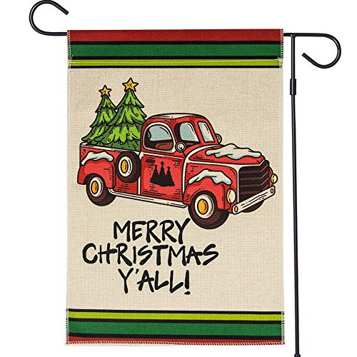 ROTERDON Merry Christmas Garden Flag - 12x18 Inch Double Sided Burlap Outdoor Red Truck Y'all Chtistmas Decor (Chtistmas Merry)
