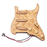 ammoon Loaded Prewired Wooden Guitar Pickguard Maple Wood Plate SSS Pickups with Decorative Flower Pattern for Fender ST Electric Guitars