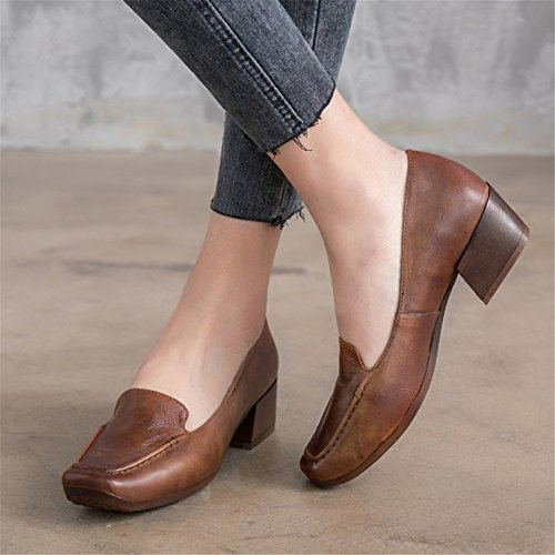 Leather 35 Women's Color Career Head Shoes Size Office 2018 Square New Dress Block Shoes Ladies amp; Heel for A CUdUrw