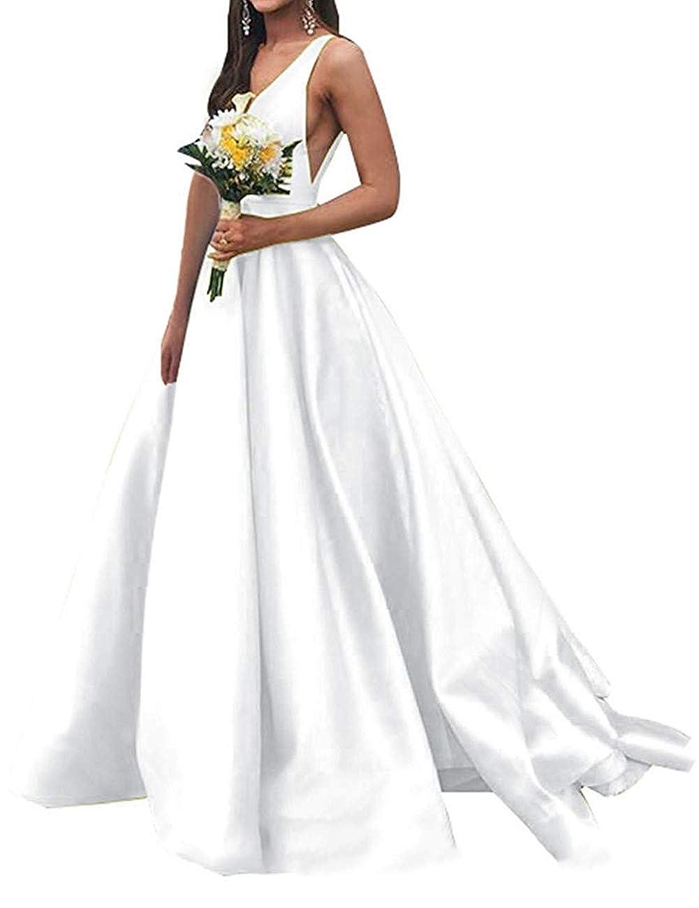 White JAEDEN Prom Dresses Formal Evening Gowns Long Evening Dresses V Neck Satin Prom Gowns Sleeveless